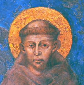de heilige Sint Fransiscus afgebeeld met een aureool ter hoogte van zijn kruinchakra