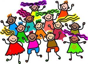 wat is Spiegelogie: oefenen in een Spiegelogie fanclub, op de tekening een groep lachende stripfiguur kinderen die dansen