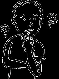 In een Spiegelogie fanclub leer je weer contact te maken met jouw wijze gevoel, je intuïtie, op de afbeelding zie je een zwart-wit tekening van een jongen met een paar vraagtekens