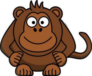 Waarom is lachen gezond: een tekening van een glimlachende aap