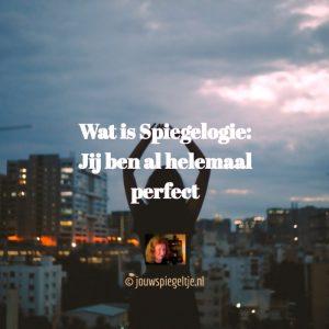 Wat is Spiegelogie: Spiegelogie gaat ervan uit dat jij al helemaal perfect bent. Op de foto een vrouw die naar de lucht kijkt met een city metropool voor zich en een prachtige avondschemering. Ze heeft haar handen in de lucht
