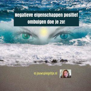 Wil jij jouw negatieve eigenschappen positief ombuigen? Lees dan mijn artikel met handige tips. Op de coverfoto zie je de zee, golven en in die golven 2 gewone ogen en in het midden een geel licht, dat het derde oog symboliseert.