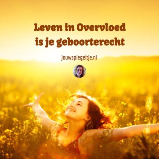 Vrouw staat met twee open armen in een grasveld met bloemen en gouden kleuren want leven in overvloed is je geboorterecht