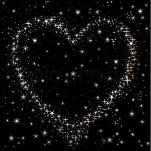 Met de vibratie van Liefde kun je je angst voor geesten overwinnen, op de afbeelding zie je een hart van sterren aan een donkere sterrenhemel